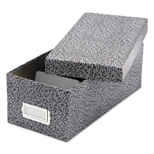 Reinforced Board Card File, Lift-Off Cover, Holds 1,200 3 x 5 Cards, Black/White