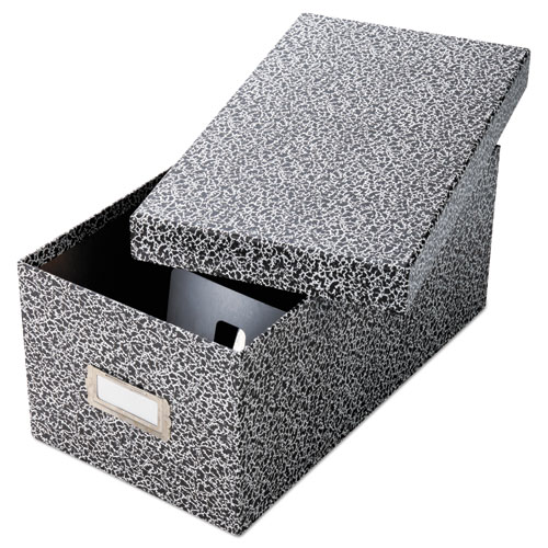 Reinforced Board Card File, Lift-Off Cover, Holds 1,200 4 x 6 Cards, Black/White | by Plexsupply