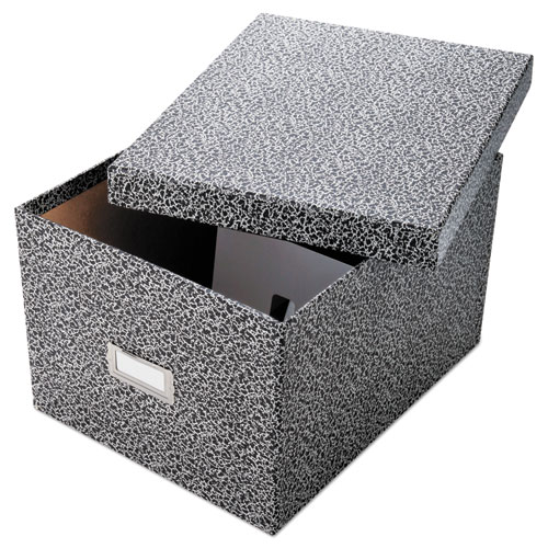 Reinforced Board Card File, Lift-Off Cover, Holds 1,200 6 x 9 Cards, Black/White