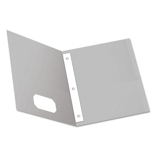 """Twin-Pocket Folders with 3 Fasteners, Letter, 1/2"""" Capacity, Gray, 25/Box 