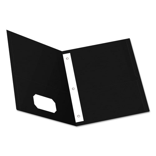"""Twin-Pocket Folders with 3 Fasteners, Letter, 1/2"""" Capacity, Black 25/Box 