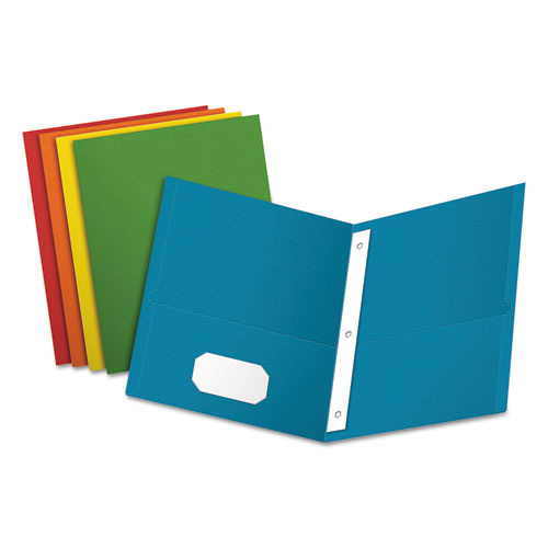 """Twin-Pocket Folders with 3 Fasteners, Letter, 1/2"""" Capacity, Assorted, 25/Box 