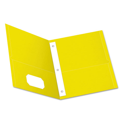 """Twin-Pocket Folders with 3 Fasteners, Letter, 1/2"""" Capacity, Yellow, 25/Box 