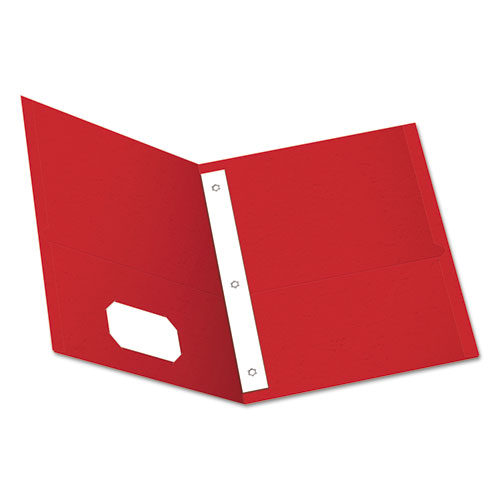 """Twin-Pocket Folders with 3 Fasteners, Letter, 1/2"""" Capacity, Red, 25/Box 