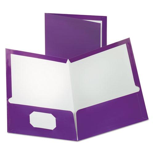 Two-Pocket Laminated Folder, 100-Sheet Capacity, Metallic Purple
