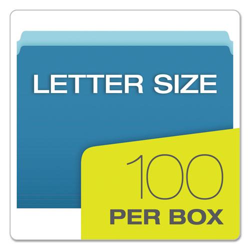 Pendaflex Colored File Folders Straight Cut Top Tab Letter Blue//Light Blue 100