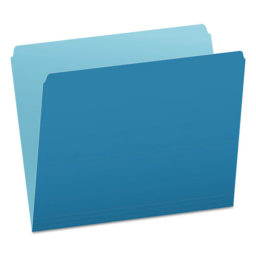 Colored File Folders, Straight Tab, Letter Size, Blue/Light Blue, 100/Box | by Plexsupply