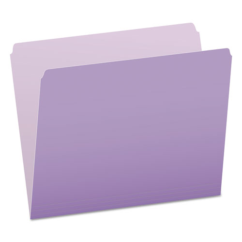 Colored File Folders, Straight Tab, Letter Size, Lavender/Light Lavender, 100/Box | by Plexsupply