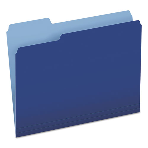 Colored File Folders, 1/3-Cut Tabs, Letter Size, Navy Blue/Light Blue, 100/Box | by Plexsupply