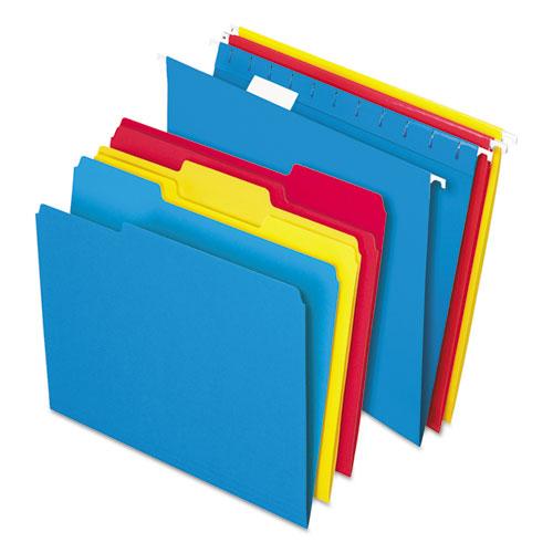 Combo Filing Kit, Letter Size, 1/3-Cut File Folders, 1/5-Cut Hanging File Folders, Assorted, 12 Sets