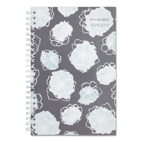 at a glance academic planners 8 x 4 7 8 mint flora 2018 2019