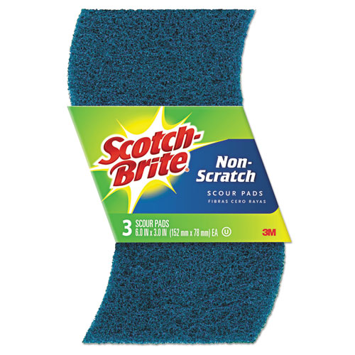 Non-Scratch Scour Pads, Size 3 x 6, Blue, 10/Carton