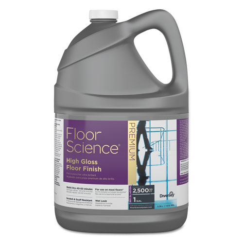 Diversey™ Floor Science Premium High Gloss Floor Finish, Clear Scent, 1 gal Container,4/CT