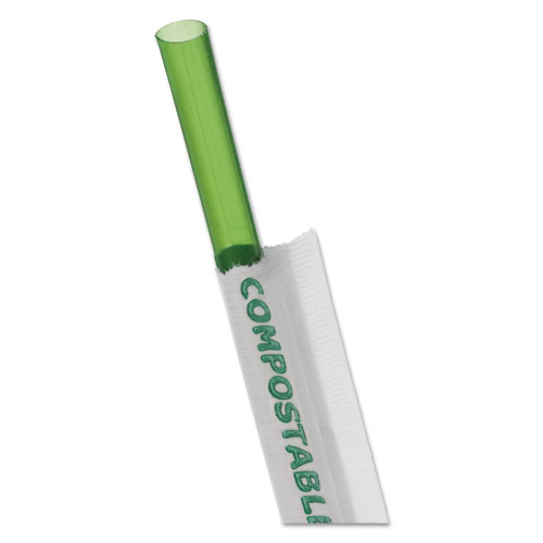 Wrapped Straw, 7.75, Green, 9600/Carton