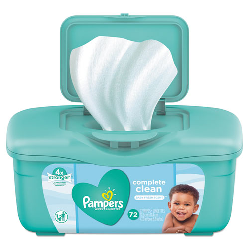 Pampers® Complete Clean Baby Wipes, 1-Ply, Baby Fresh, 72 Wipes/Pack, 8 Packs/Carton
