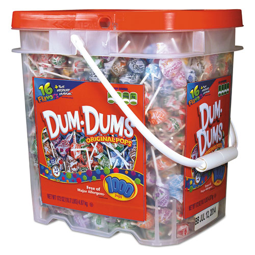 Spangler® Dum-Dum-Pops, Assorted Flavors, Individually Wrapped, Bulk 30lb Carton