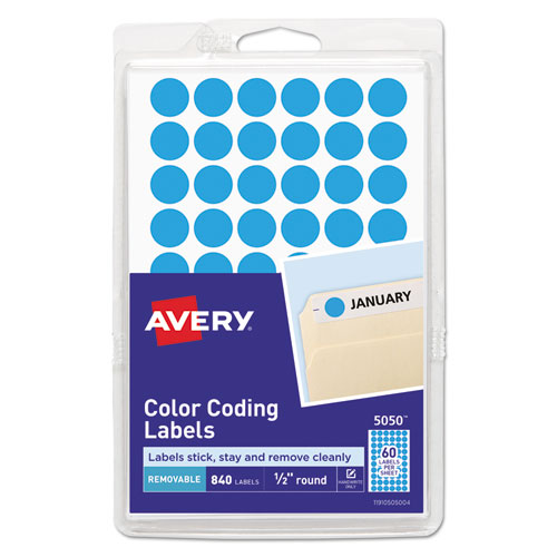 """Handwrite Only Self-Adhesive Removable Round Color-Coding Labels, 0.5"""" dia., Light Blue, 60/Sheet, 14 Sheets/Pack, (5050)"""