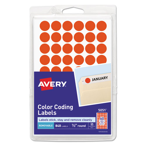 """Handwrite Only Self-Adhesive Removable Round Color-Coding Labels, 0.5"""" dia., Neon Red, 60/Sheet, 14 Sheets/Pack, (5051)"""