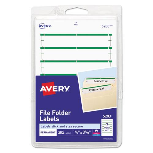 Printable 4 x 6 - Permanent File Folder Labels, 0.69 x 3.44, White, 7/Sheet, 36 Sheets/Pack, (5203)