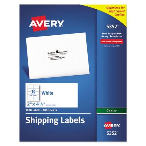 avery copier shipping labels 2 x 4 1 4 white 1000 box mac