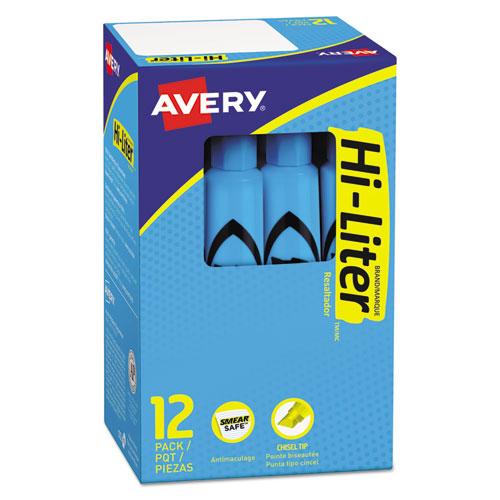 HI-LITER Desk-Style Highlighters, Light Blue Ink, Chisel Tip, Light Blue/Black Barrel, Dozen