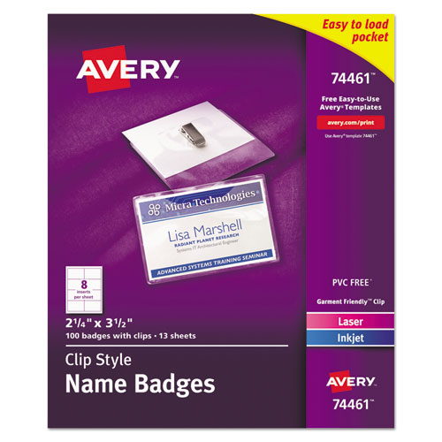Clip-Style Badge Holder with Laser/Inkjet Insert, Top Load, 3.5 x 2.25, White, 100/Box | by Plexsupply