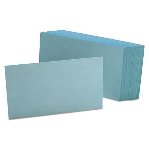Unruled Index Cards, 3 x 5, Blue, 100/Pack | by Plexsupply
