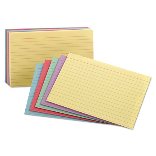 Ruled Index Cards, 5 x 8, Blue/Violet/Canary/Green/Cherry, 100/Pack | by Plexsupply