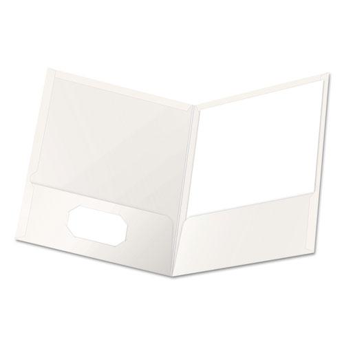 High Gloss Laminated Paperboard Folder, 100-Sheet Capacity, White, 25/box