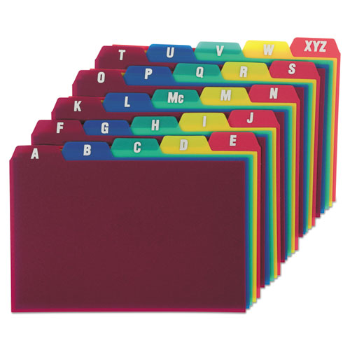 Card Guides, Alpha, 1/5 Tab, Polypropylene, 4 x 6, 25/Set | by Plexsupply