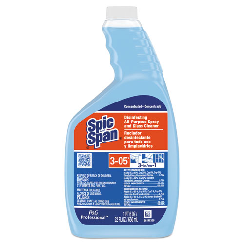 Disinfecting All-Purpose Spray and Glass Cleaner, Concentrate Liquid, 22 oz, 3/Carton