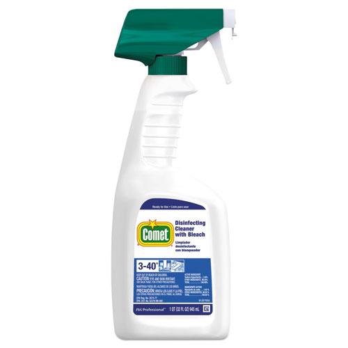 Disinfecting Cleaner w/Bleach, 32 oz, Plastic Spray Bottle, Fresh Scent, 8/Carton
