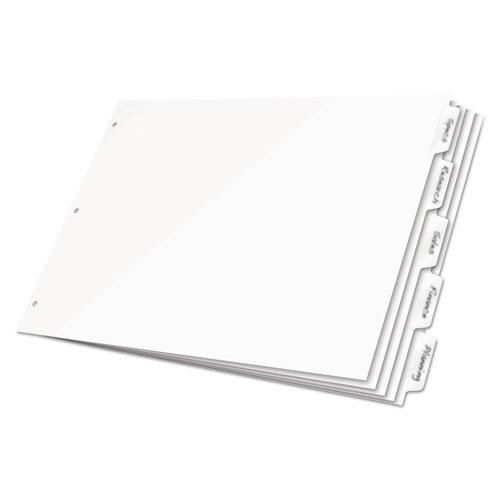 Write 'n Erase Tabloid Index Dividers, 5-Tab, 11 x 17, White, 1 Set   by Plexsupply