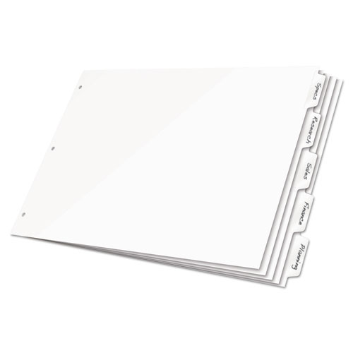 Write 'n Erase Tabloid Index Dividers, 8-Tab, 11 x 17, White, 1 Set | by Plexsupply