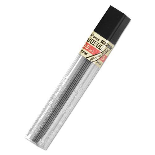 Super Hi-Polymer Lead Refills, 0.5 mm, 2B, Black, 12/Tube