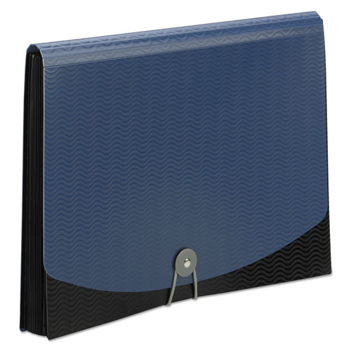 """12-Pocket Poly Expanding File, 0.88"""" Expansion, 12 Sections, 1/6-Cut Tab, Letter Size, Black/Blue"""