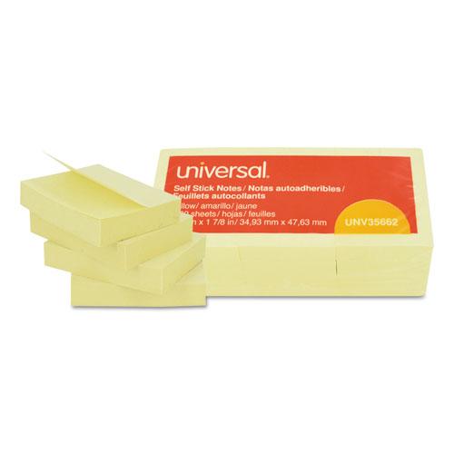 Self-Stick Note Pads, 1 1/2 x 2, Yellow, 12 100-Sheet/Pack