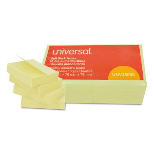 Universal® Self-Stick Note Pads, 3 x 3, Yellow, 100-Sheet, 12/Pack