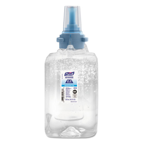 Advanced E3-Rated Instant Hand Sanitizer Gel, Fragrance-Free, 1200 mL, Refill, 3/Carton