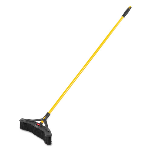 Maximizer Push-to-Center Broom, 18, Polypropylene Bristles, Yellow/Black