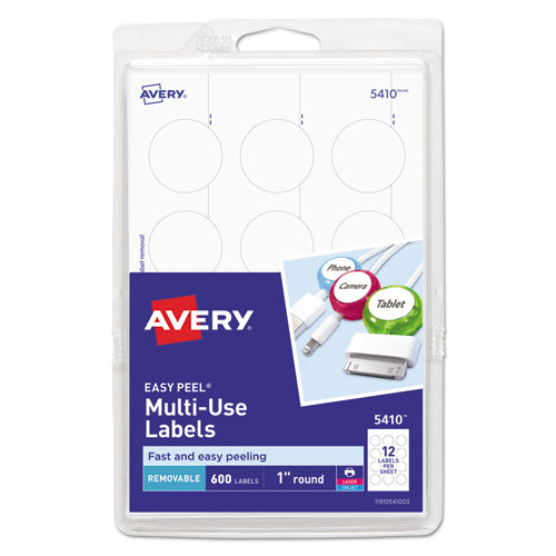 Removable Multi-Use Labels, Inkjet/Laser Printers, 1 dia., White, 12/Sheet, 50 Sheets/Pack