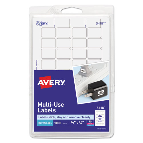 Removable Multi-Use Labels, Inkjet/Laser Printers, 0.5 x 0.75, White, 36/Sheet, 28 Sheets/Pack