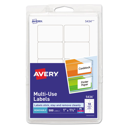 Removable Multi-Use Labels, Inkjet/Laser Printers, 1 x 1.5, White, 10/Sheet, 50 Sheets/Pack | by Plexsupply