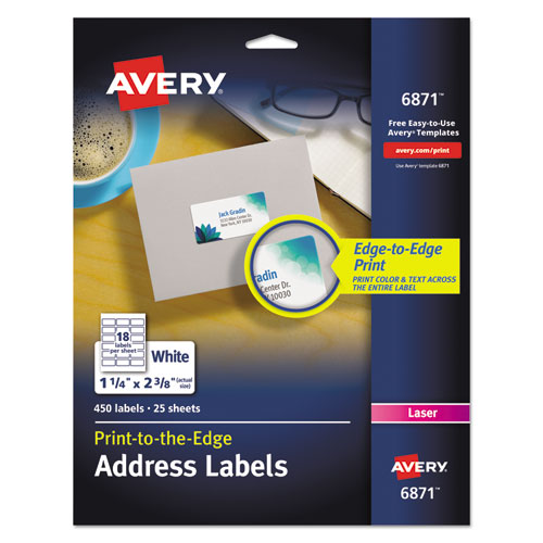 Vibrant Laser Color-Print Labels w/ Sure Feed, 1 1/4 x 2 3/8, White, 450/Pack