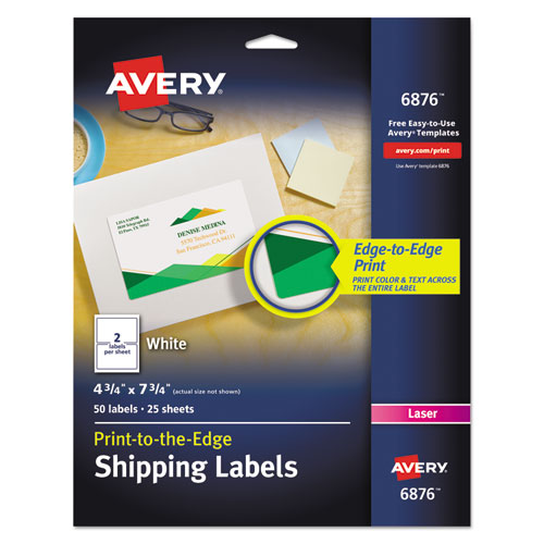 Vibrant Laser Color-Print Labels w/ Sure Feed, 4 3/4 x 7 3/4, White, 50/Pack