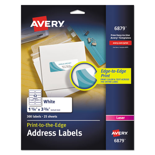 Vibrant Laser Color-Print Labels w/ Sure Feed, 1 1/4 x 3 3/4, White, 300/Pack