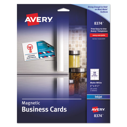Magnetic Business Cards, 2 x 3 1/2, White, 10/Sheet, 30/Pack | by Plexsupply