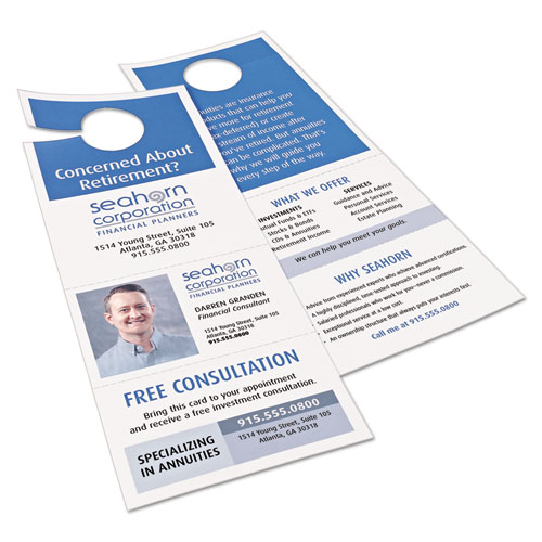 Door Hanger with Tear-Away Cards, 97 Bright, 65lb, 4.25 x 11, White, 2 Hangers/Sheet, 40 Sheets/Pack