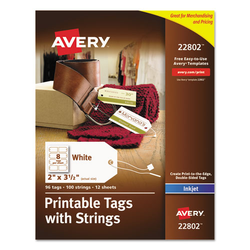 Printable Rectangular Tags with Strings, 2 x 3 1/2, Matte White, 96/Pack | by Plexsupply