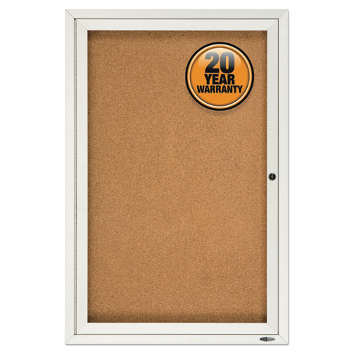 Enclosed Bulletin Board, Natural Cork/Fiberboard, 24 x 36, Silver Aluminum Frame   by Plexsupply